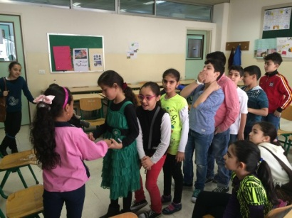 A picture of Syrian children lined up in a classroom in Lebanon